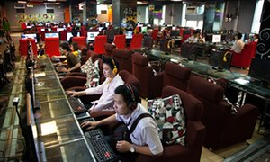 An internet cafe in Guilin, Guangxi province, China.