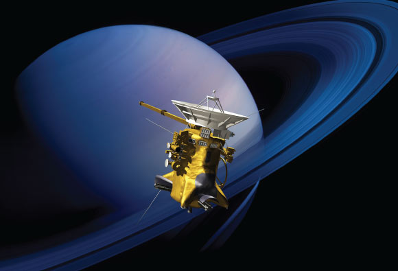 Artist's concept of NASA's Cassini spacecraft at Saturn. Image credit: NASA.