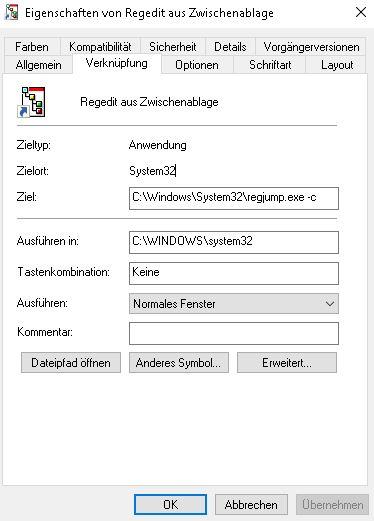 Registry Schlüssel direkt öffnen