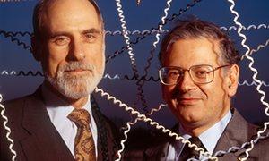 Vinton Cerf (left) and Robert Kahn, who devised the first internet protocol.