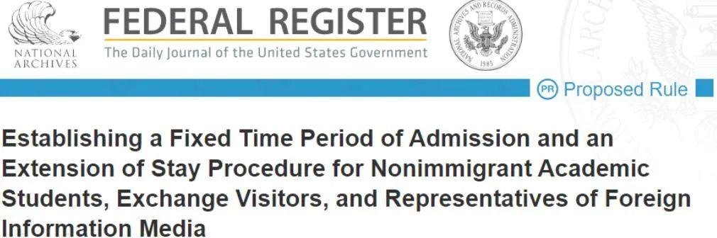美國計畫縮短F、J、I非移民簽證停留時間,提案現處公告期